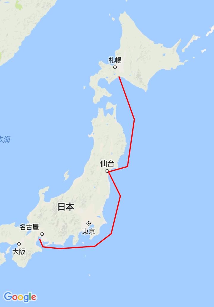 太平洋フェリーの苫小牧から仙台経由の名古屋行きのルート
