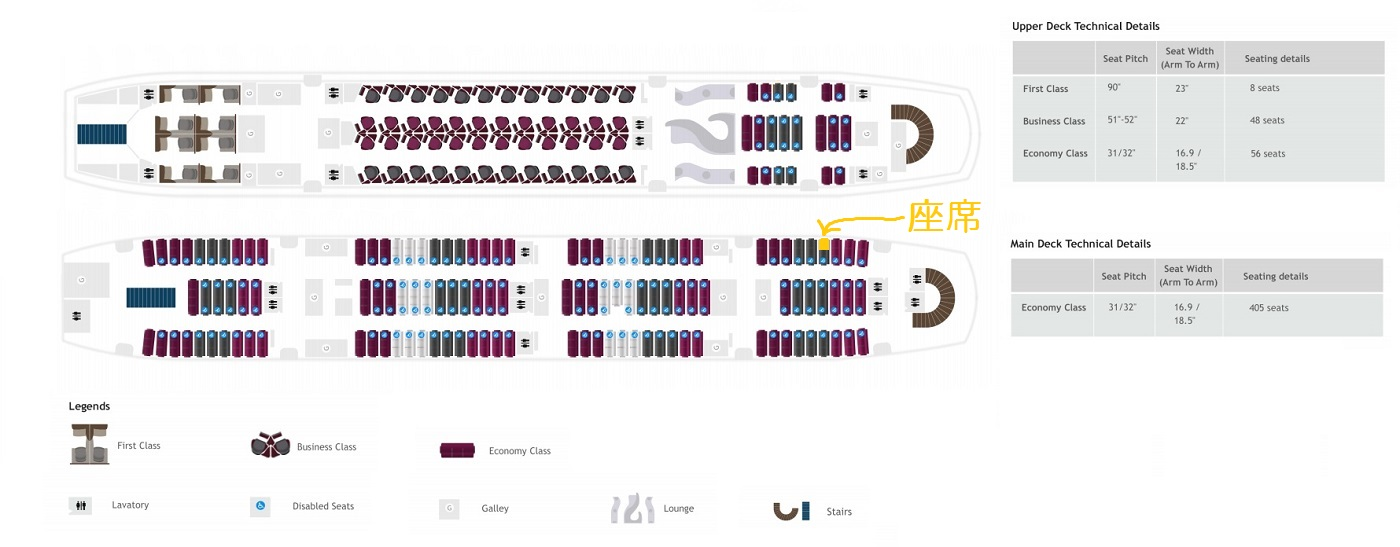 エコノミークラスのA380の座席表