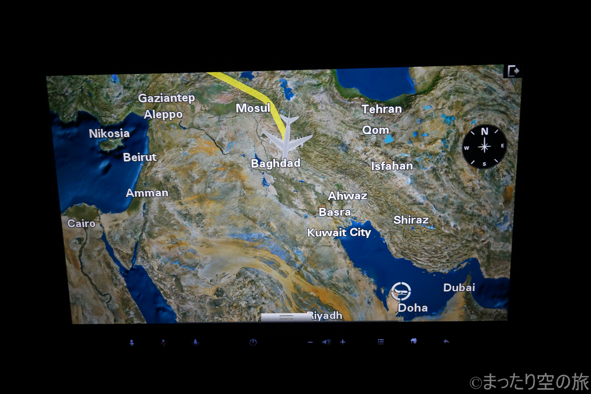 中東上空を飛行中のフライトマップ