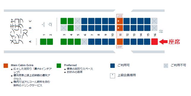 アメリカンイーグルのERJ140型機の座席表と自席の位置