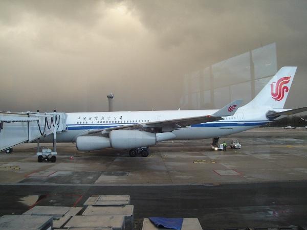 搭乗機の中国国際航空のA340-300型機