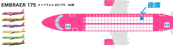 FDAのE175型機の座席表と自席の位置