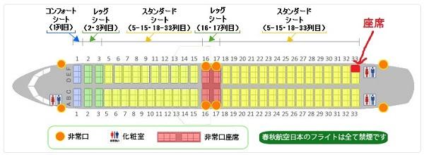 春秋航空日本のB737-800型機の座席表と自席の位置