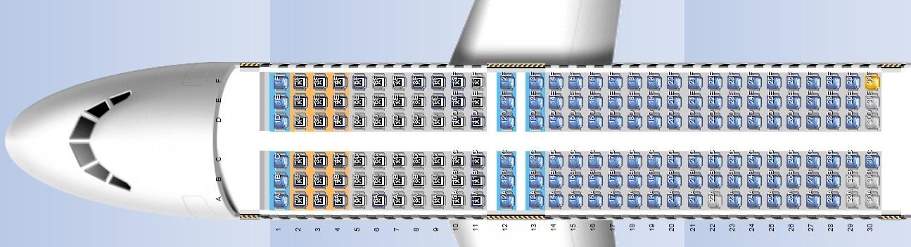 タイガーエア台湾のA320型機の座席表