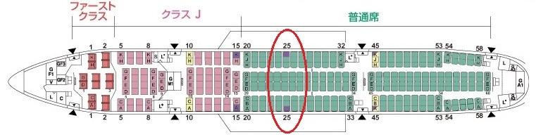 25番A席、25番K席に該当する窓なし席の座席表での位置