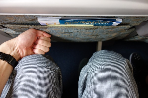 ベトナム航空のA321型機のエコノミ―クラスの座席の足元の広さ