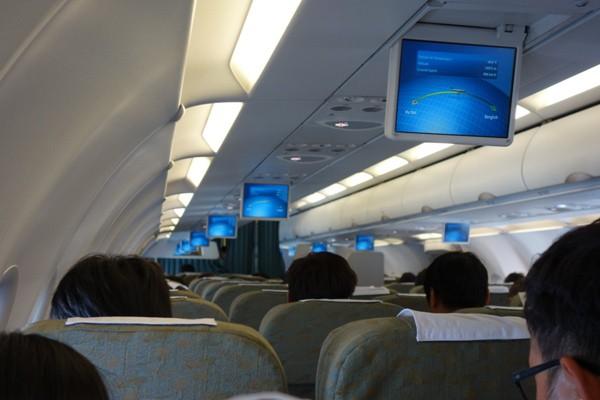 機内モニターが展開中の機内