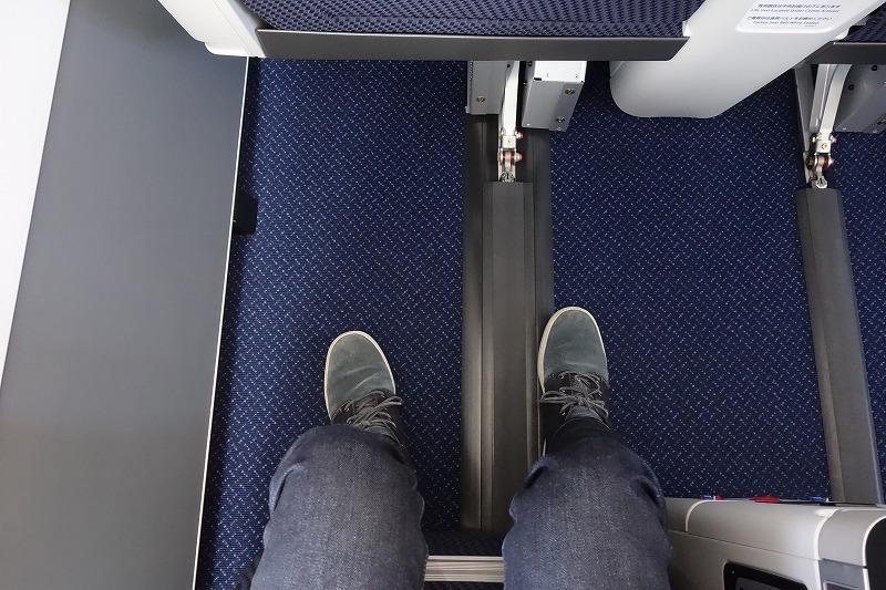 ANAのA320neoのビジネスクラスの足元の広さを真上から