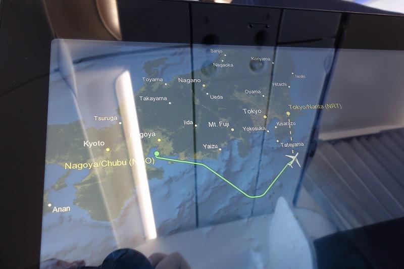機内マップと飛行ルート