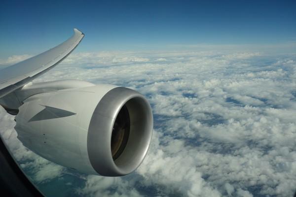 機内よりGEnx-1エンジンを望む