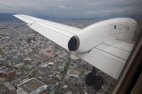 福岡市街地上空の様子