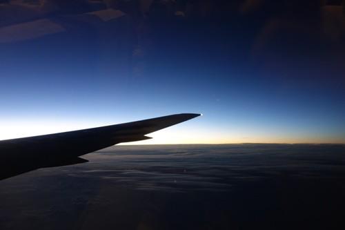 日没後の空からの景色