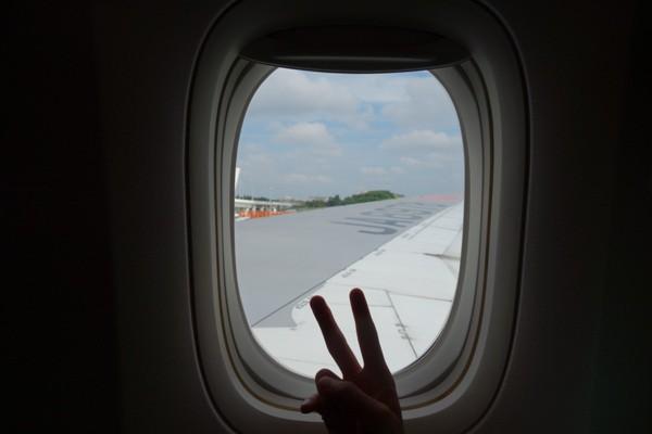 機内から見える翼と窓枠