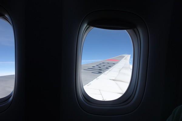 機内から見えるB777型機の翼と機内の窓枠
