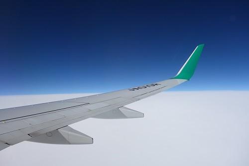 B737-800型機の機内から見える翼