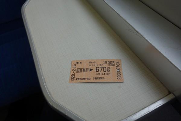 妙高高原から直江津までの切符