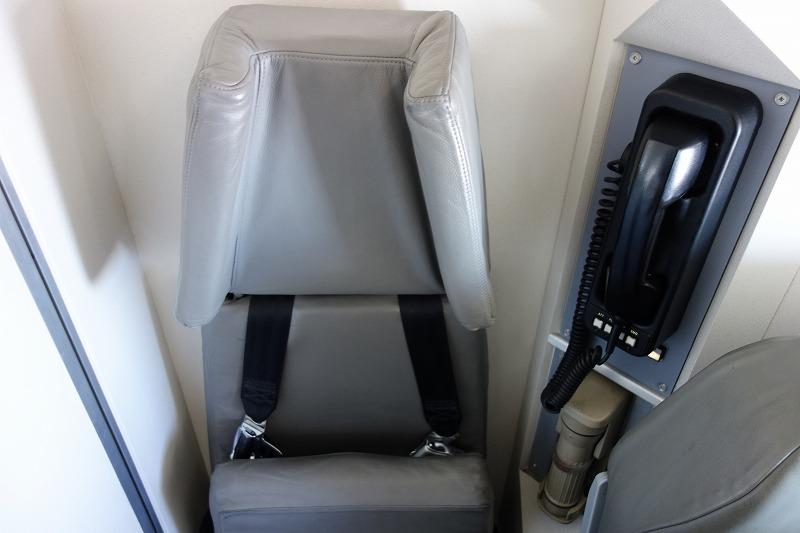 機体最後部に設置されたCAさんのシート