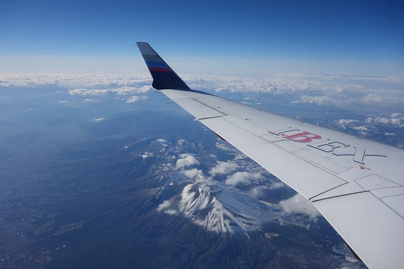 機内から見えた浅間山&軽井沢
