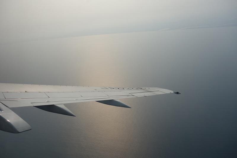 機内からの旋回中の景色