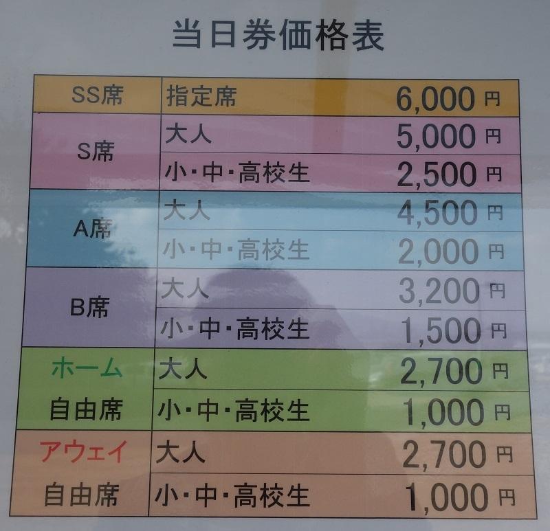 当日券の各座席の値段