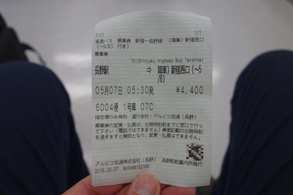 アルピコ高速バスの乗車券