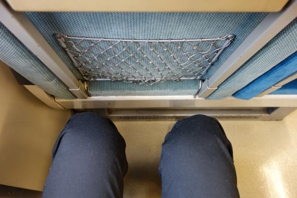 189系おはようライナー自由席の足元の広さ(上から)