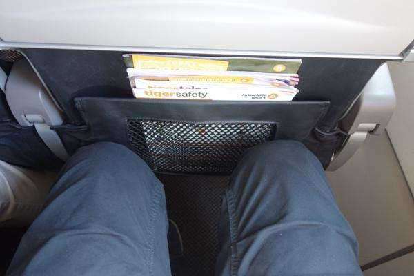 タイガーエア台湾の普通席の足元の広さの様子