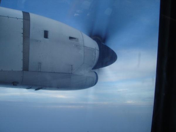 巡航中のATR機のプロペラの様子