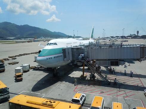 搭乗機のキャセイパシフィック航空のB747-400(B-HKE)