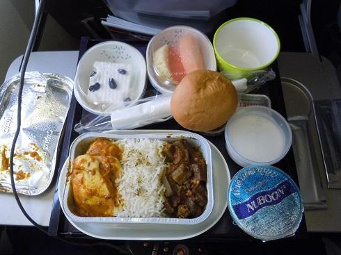 キャセイパシフィック航空のカレーの機内食