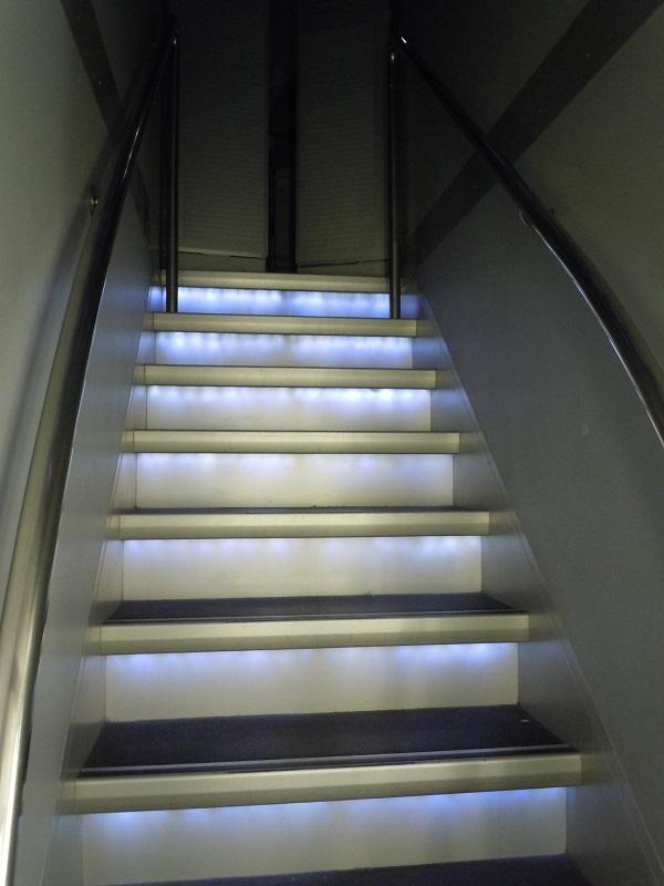 A340-600の地下トイレにつながる階段