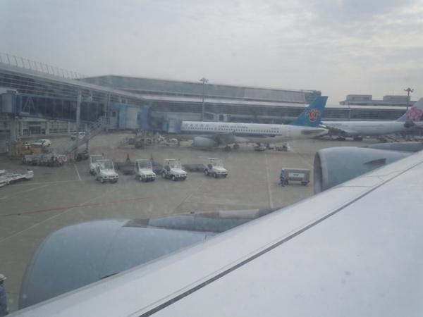 ルフトハンザのA340-600の機内から眺めたセントレア