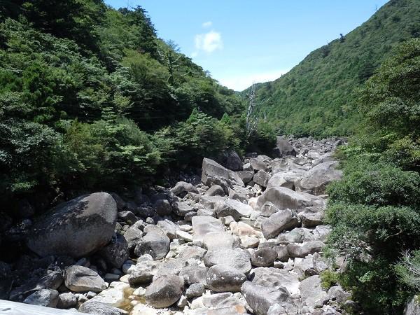 屋久島内の河川内の巨大な岩