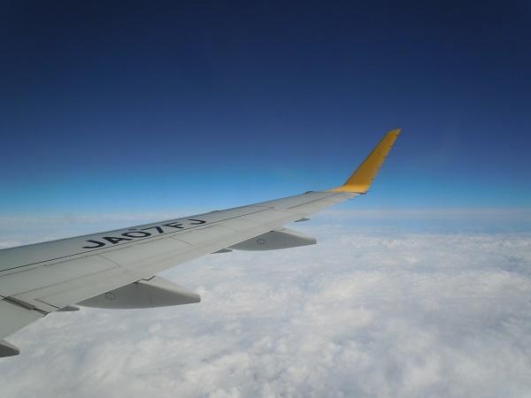 水平飛行中のE175型機の翼と青い空の機内からの景色