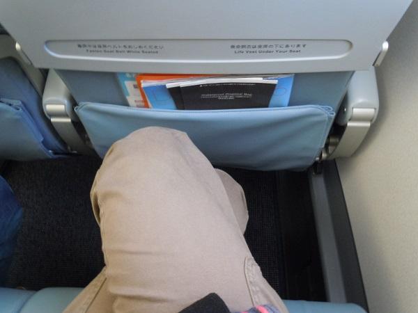 FDAの普通席の座席の足元の広さ