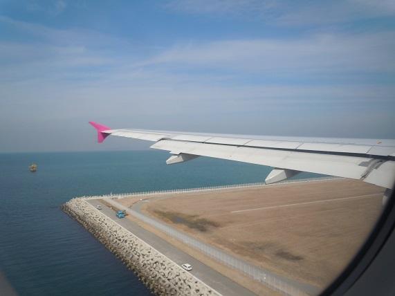関西国際空港着陸時の様子