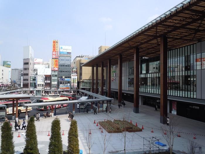駅ビルと周辺商業ビルを結ぶ連絡橋からの長野駅ビルの風景