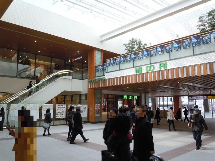 2F改札付近から見た駅ビル入口