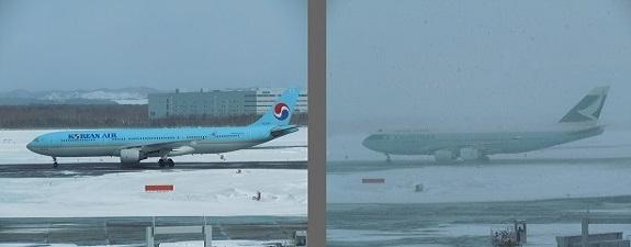 新千歳空港の天気の変化の比較(2時間前後)