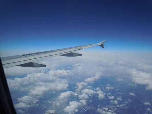 水平飛行中の機内からの翼の眺め