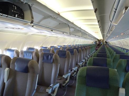 茶色と緑色の座席が並ぶ機内の様子