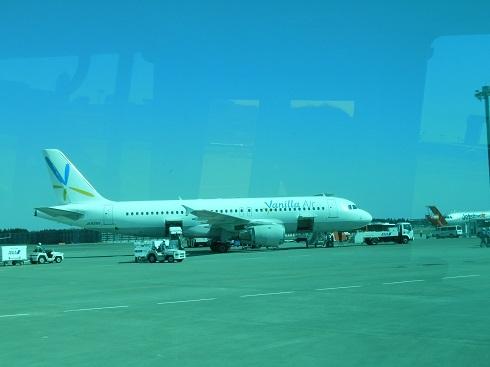 成田空港内ランプバスより撮影した搭乗機A320