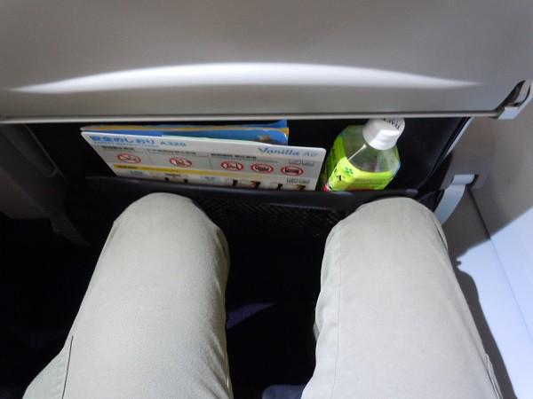 シートポケットにペットボトルを収納したことで狭くなった足元の様子