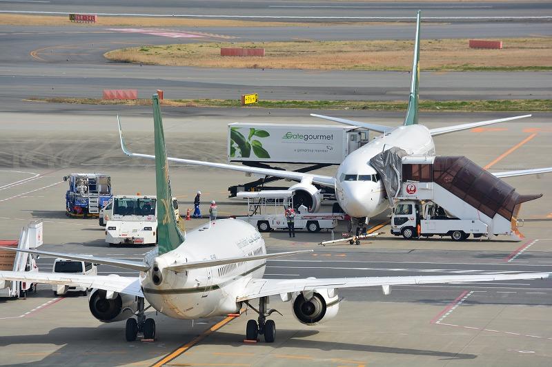 羽田空港に駐機するサウジ財務省のB737