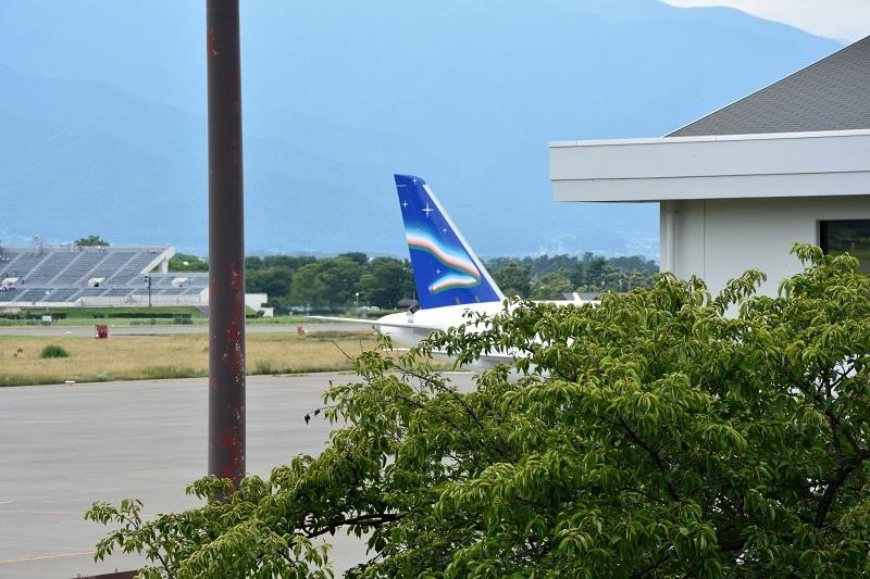 松本空港に飛来したヤクーツク航空のSSJ-100の尾翼