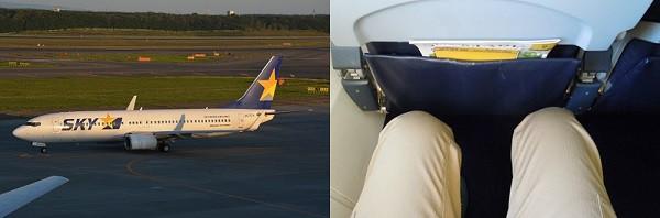スカイマークのB737型機の座席の足元の広さ