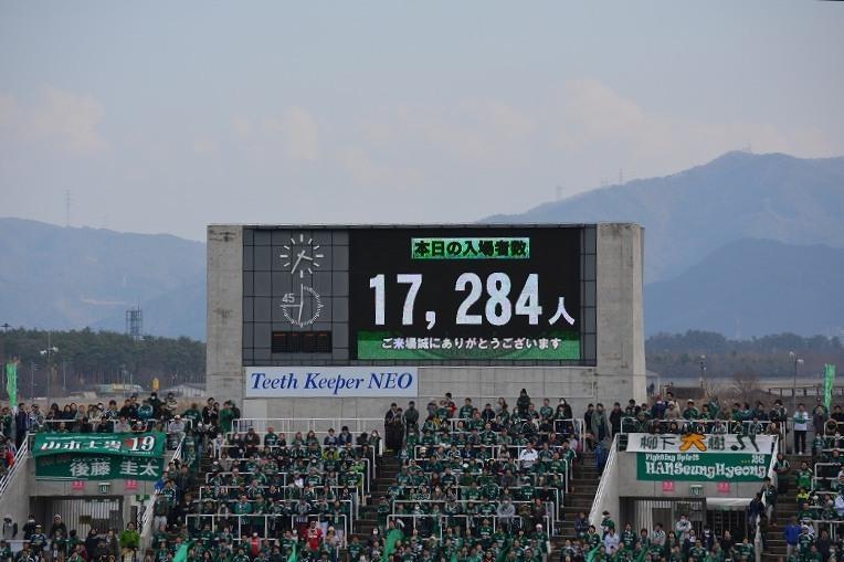 17284名の入場者数を知らせるモニター