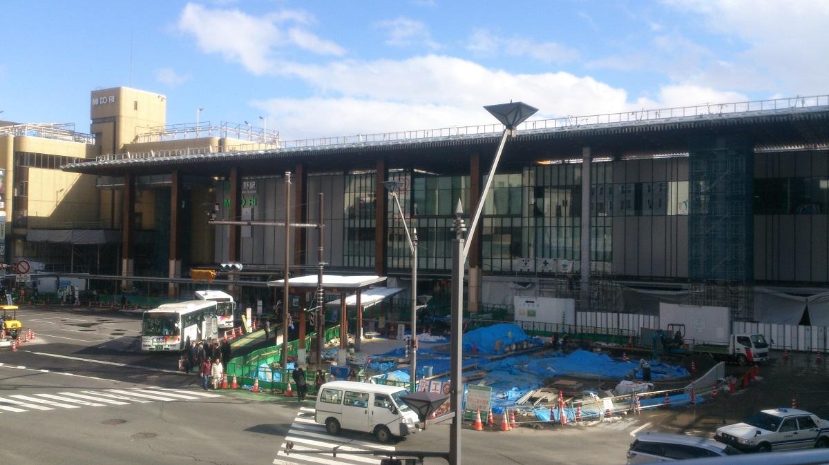 ほぼ完成に近づいた新長野駅ビル建設中の様子