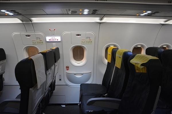 タイガーエア台湾のA320型機の非常口座席