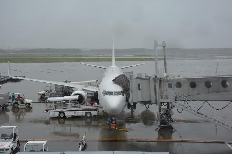 新千歳空港に到着した搭乗機
